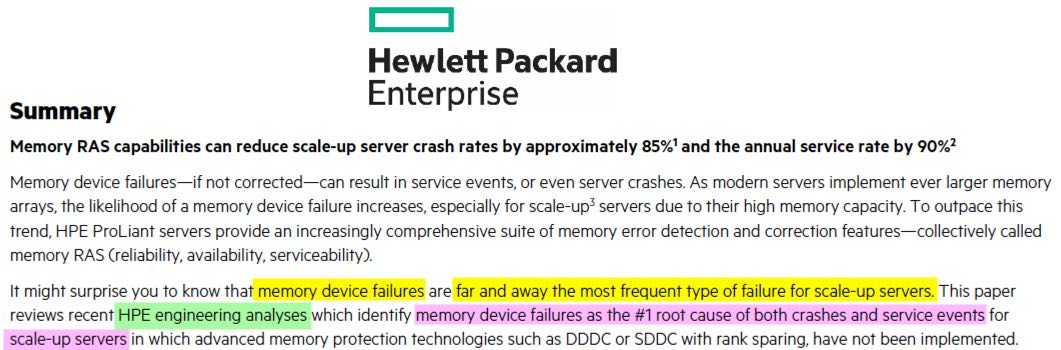 HPE Memory RAS; Excels at beingAverage